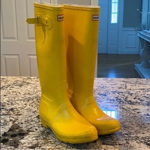 Tall Yellow Hunter Rain Boots
